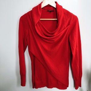 Lafayette 148 Red Long Sleeve Wrap Top Sweater